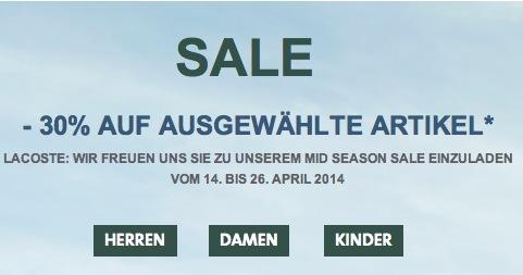 Lacoste Mid Season Sale 2014