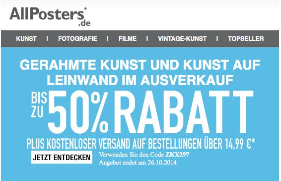 AllPosters 50 % Rabatt