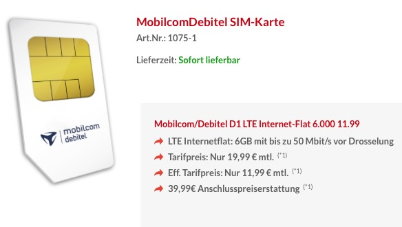 Internetflat 6GB LTE