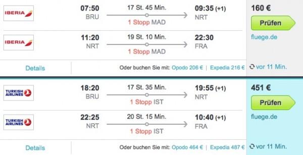 Error Fare Tokio Ab Return Nach Brussel