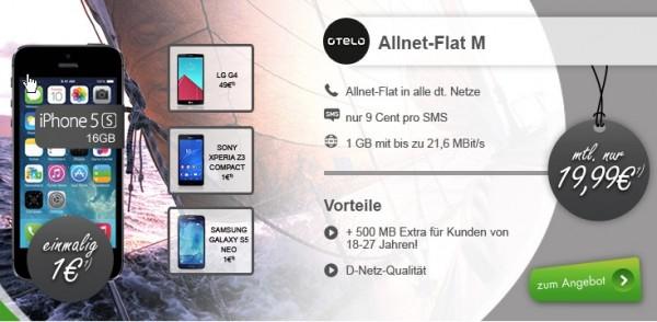 Otelo Allnet Flat M mit Smartphone